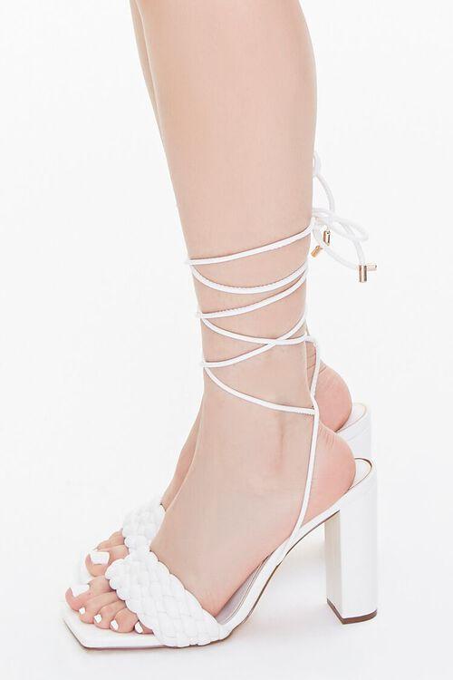 WHITE Braided Wraparound Block Heels, image 2