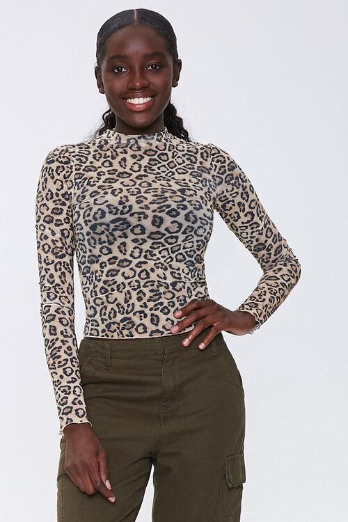Leopard Print Mock Neck Top, image 1
