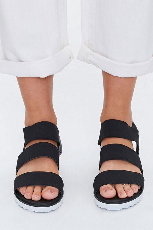 BLACK Strappy Flatform Wedge Sandals, image 2