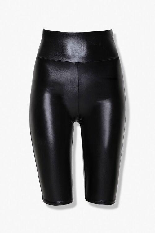 Active Faux Leather Biker Shorts, image 3