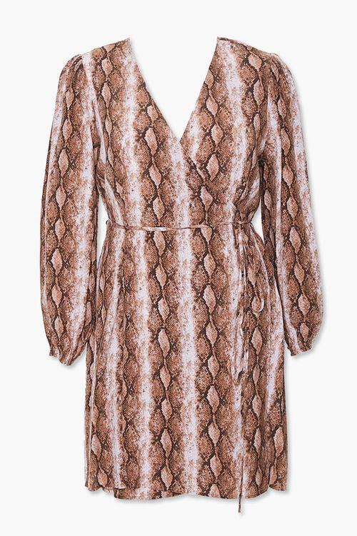 Plus Size Faux Snakeskin Wrap Dress, image 1
