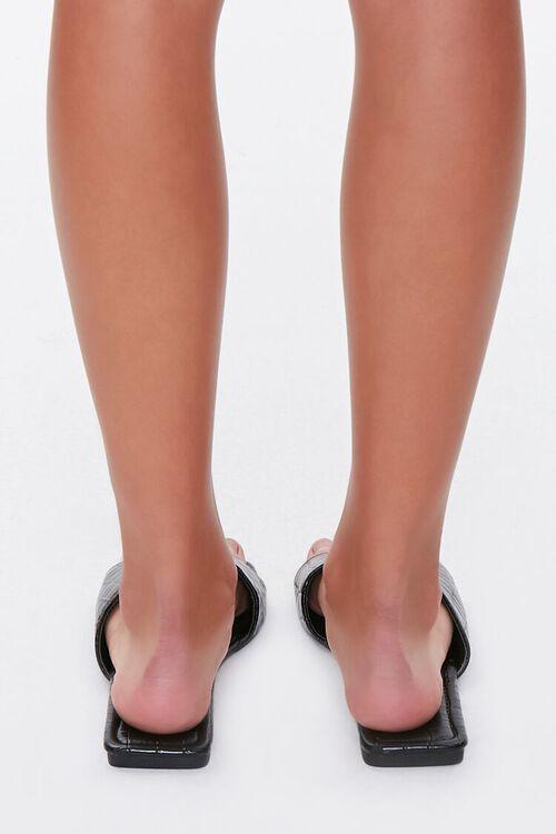 Faux Croc Leather Square-Toe Sandals, image 3