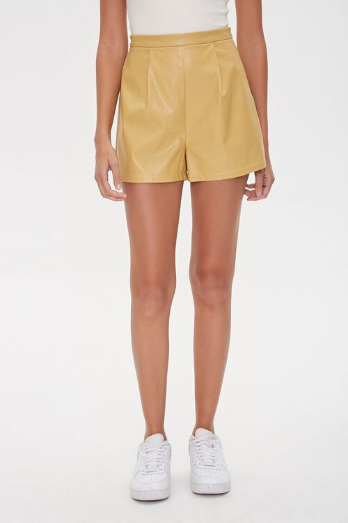 TAN Faux Leather Shorts, image 2