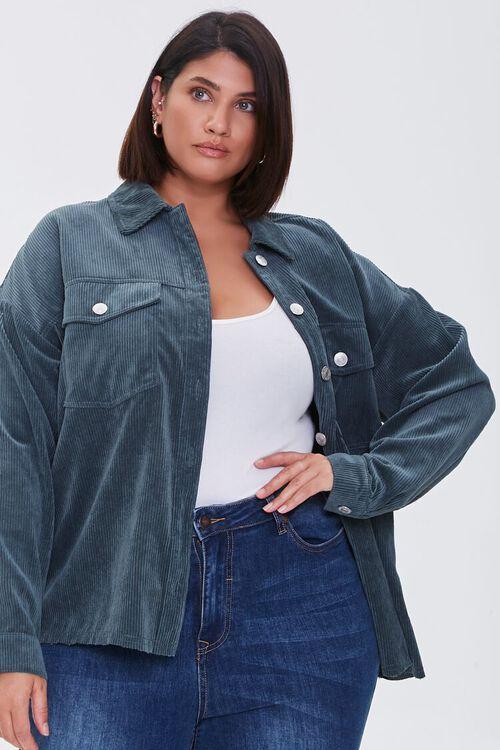 TEAL Plus Size Corduroy Jacket, image 1