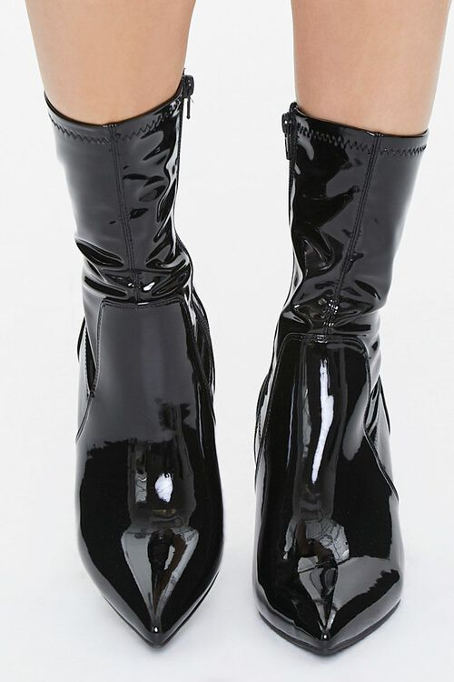 Faux Patent Leather Lucite Heel Booties, image 4