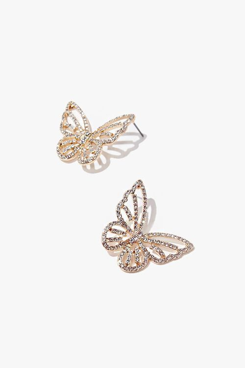 Butterfly Rhinestone Stud Earrings, image 2