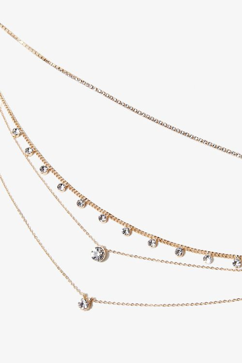 GOLD/CLEAR Rhinestone Pendant Layered Necklace, image 2