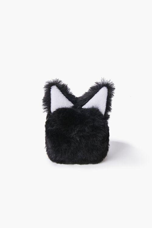 BLACK/MULTI Plush Cat Earbuds Holder, image 1