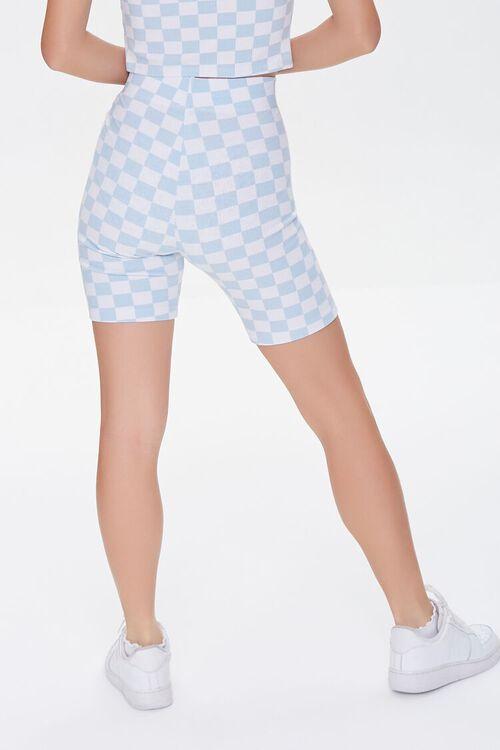 BLUE/WHITE Checkered High-Rise Biker Shorts, image 4