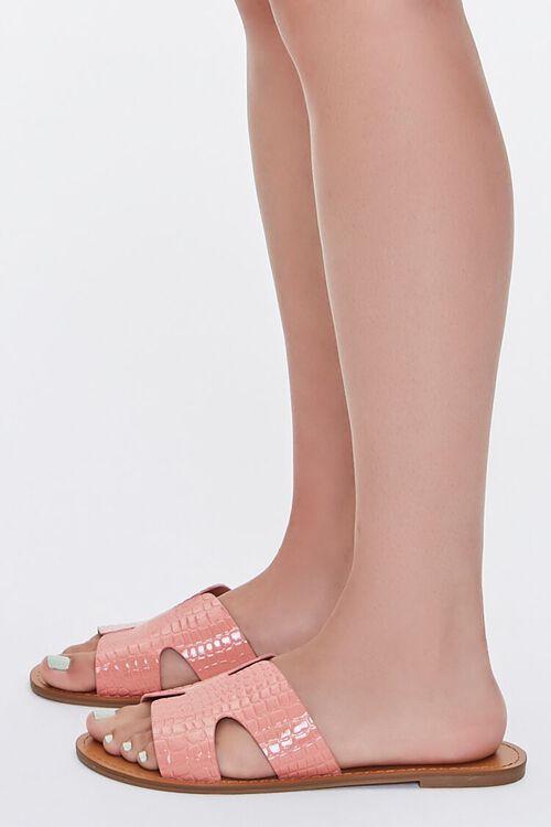 Faux Croc Leather Cutout Sandals, image 2