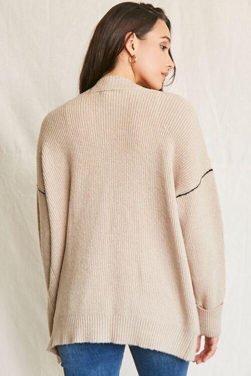 TAUPE Ribbed Longline Cardigan Sweater, image 3