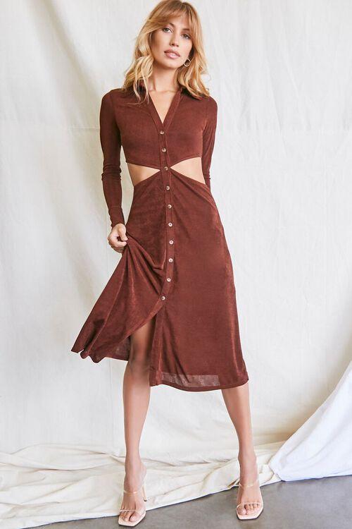 CHOCOLATE Button-Front Cutout Dress, image 1