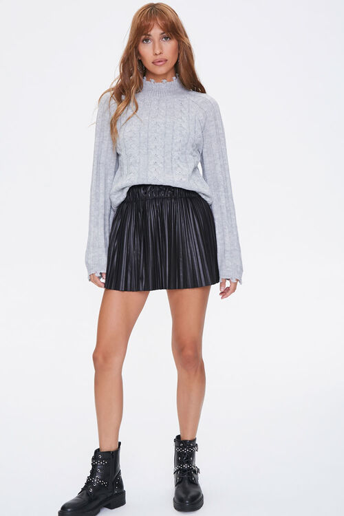 Distressed Cable Knit Sweater, image 4