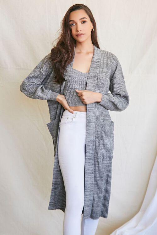 BLACK/MULTI Longline Cardigan Sweater, image 1