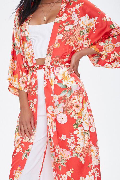 Satin Floral Kimono, image 5