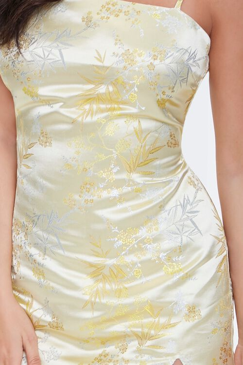 YELLOW Embroidered Satin Cami Dress, image 5