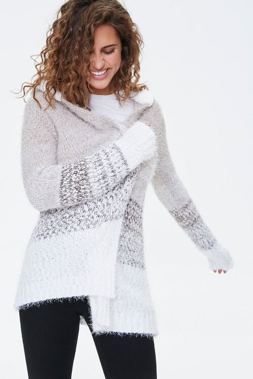 Fuzzy Hooded Cardigan Sweater, image 1