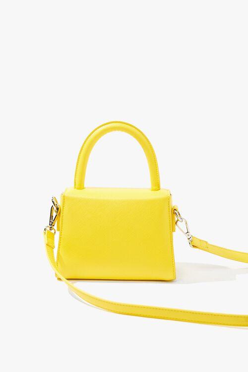 YELLOW Mini Faux Leather Crossbody Bag, image 3