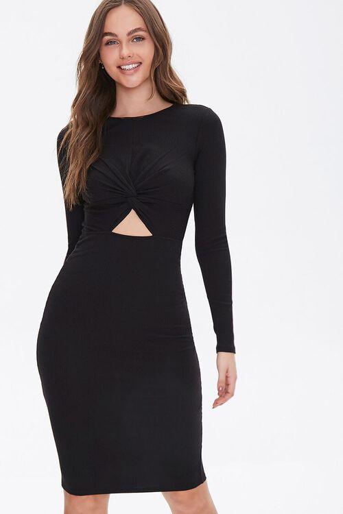 Ribbed Cutout Bodycon Dress, image 1