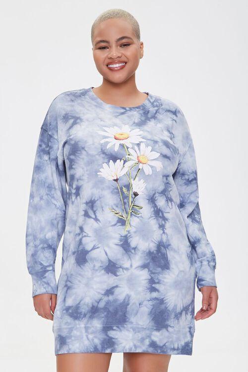 Plus Size Floral Graphic Sweatshirt Dress, image 1