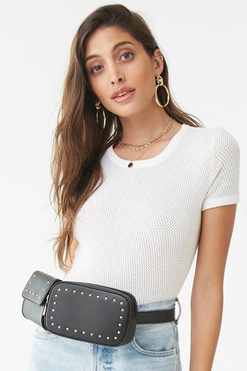 Studded Faux Leather Belt Bag, image 1