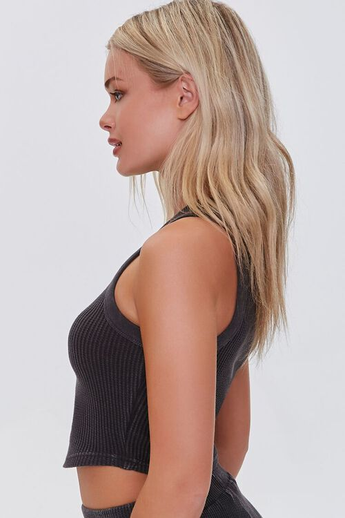 CHARCOAL Waffle Knit Cropped Tank Top, image 2