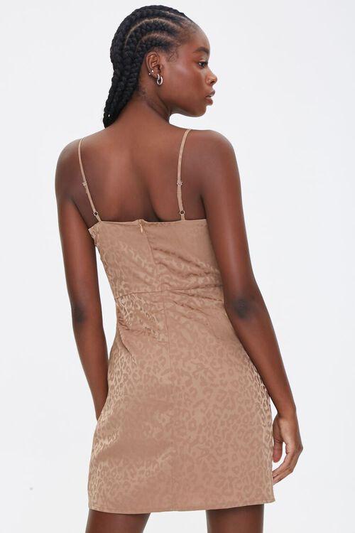 TAUPE Satin Leopard Print Dress, image 3