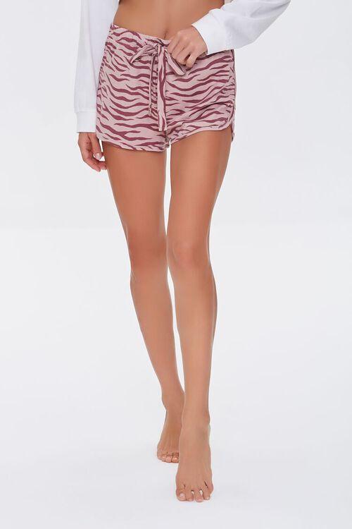 Tiger Striped Print Lounge Shorts, image 2