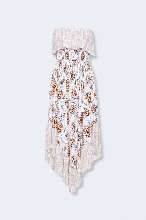 Strapless Floral Patternblock Dress, image 1