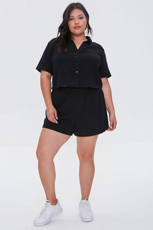 Plus Size Textured Shorts, image 5