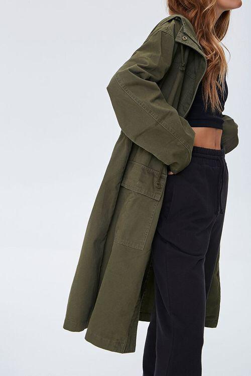 Drawstring Hooded Longline Jacket, image 2