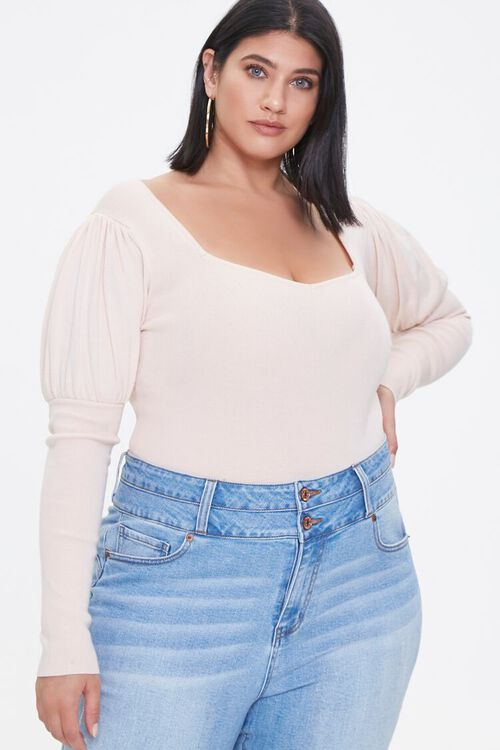 Plus Size Gigot-Sleeve Bodysuit, image 1