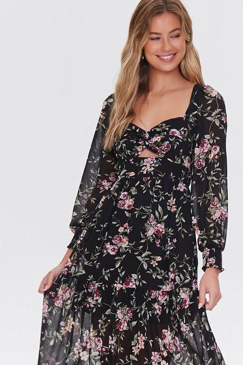 BLACK/MULTI Floral Print Maxi Dress, image 2