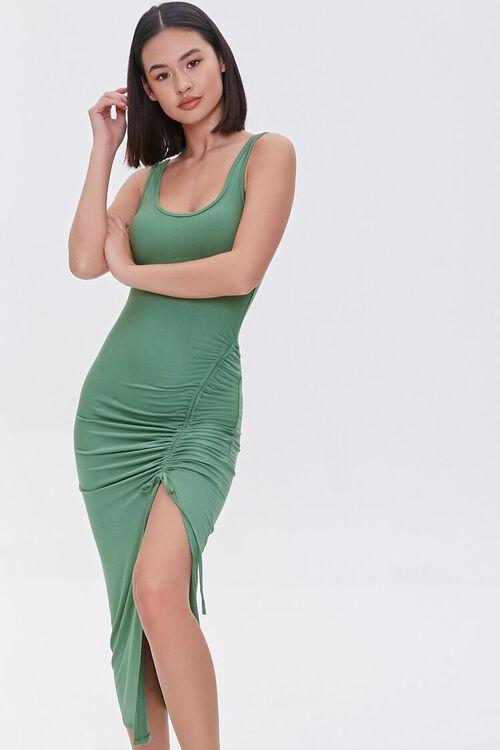 Ruched Drawstring Midi Dress, image 1