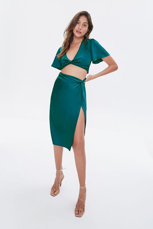 BLUE Gathered Satin Slit Skirt, image 5