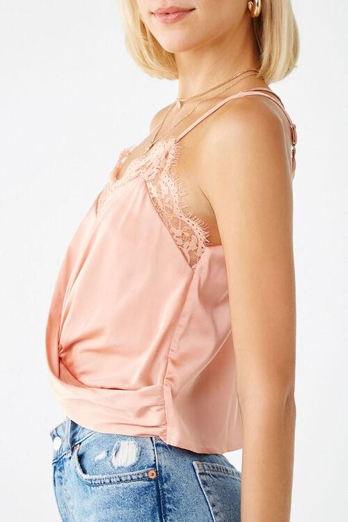 Satin Twist-Front Lace Cami, image 2