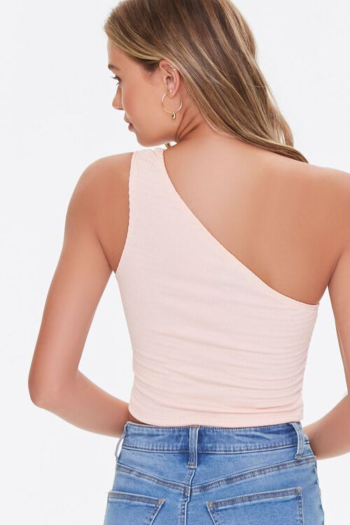 PEACH  Textured One-Shoulder Top, image 3