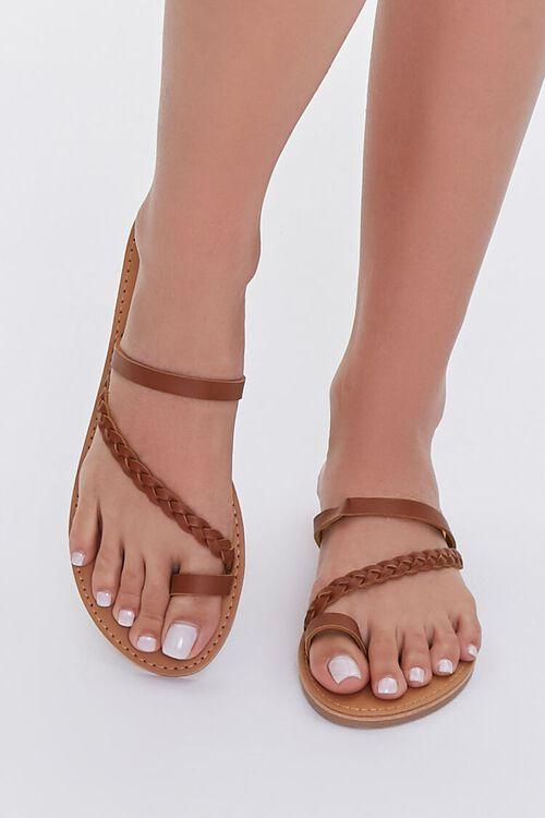 BROWN Braided Toe Loop Sandals, image 4