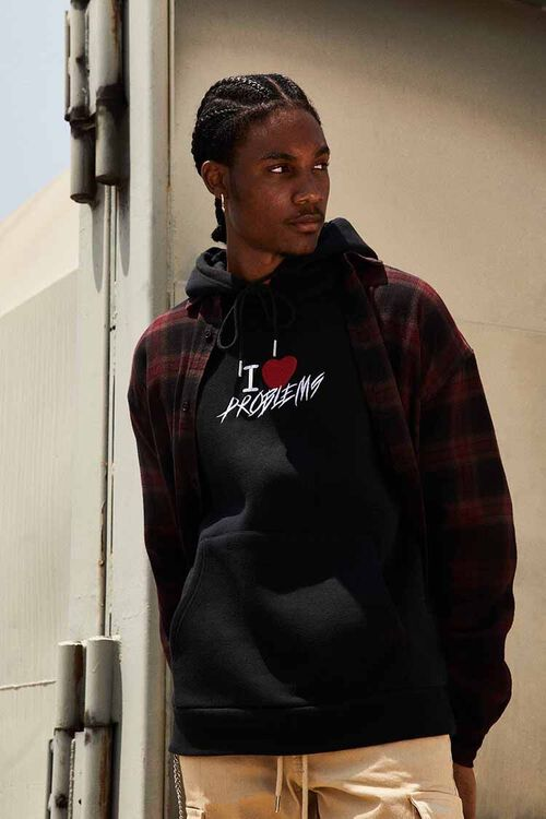 BLACK/MULTI Problems Embroidered Graphic Hoodie, image 1