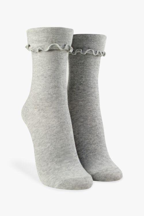 Ribbed Lettuce-Edge Crew Socks, image 1