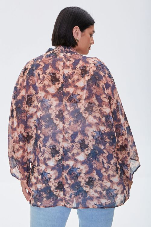 Plus Size Abstract Print Chiffon Kimono, image 3