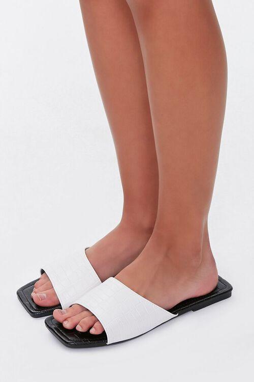 Faux Croc Leather Square-Toe Sandals, image 1
