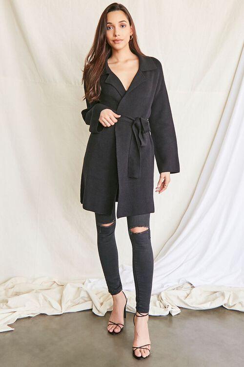 BLACK Belted Longline Cardigan Sweater, image 4