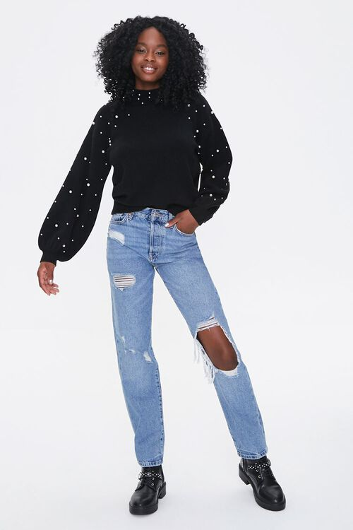 Faux Pearl Mock Neck Sweater, image 4