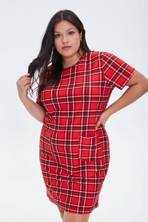 Plus Size Plaid Mini Dress, image 1