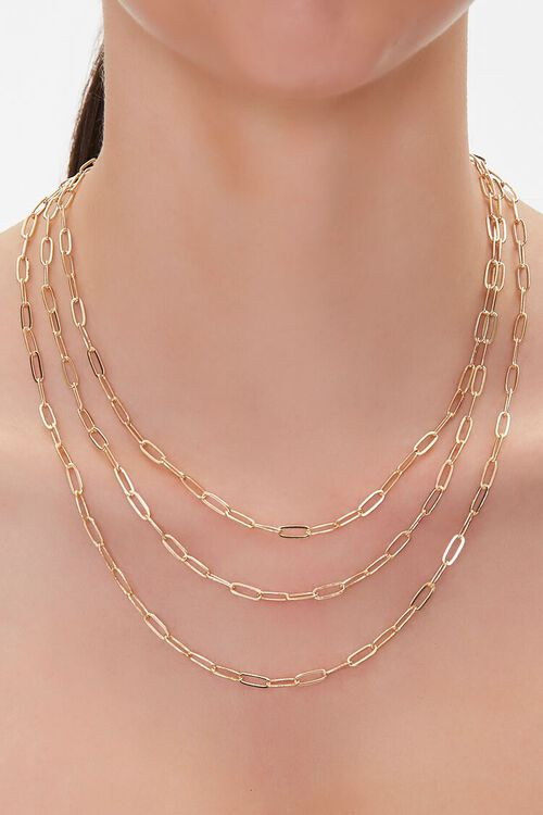 GOLD Anchor Chain Layered Necklace, image 1