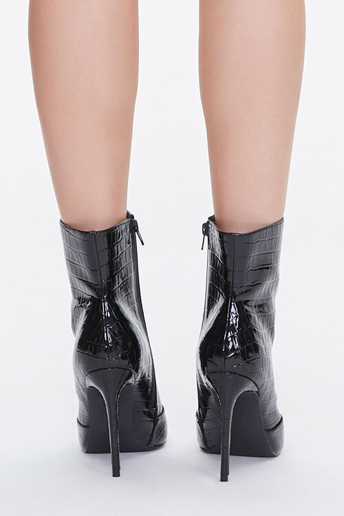 Faux Croc Leather Stiletto Booties, image 3