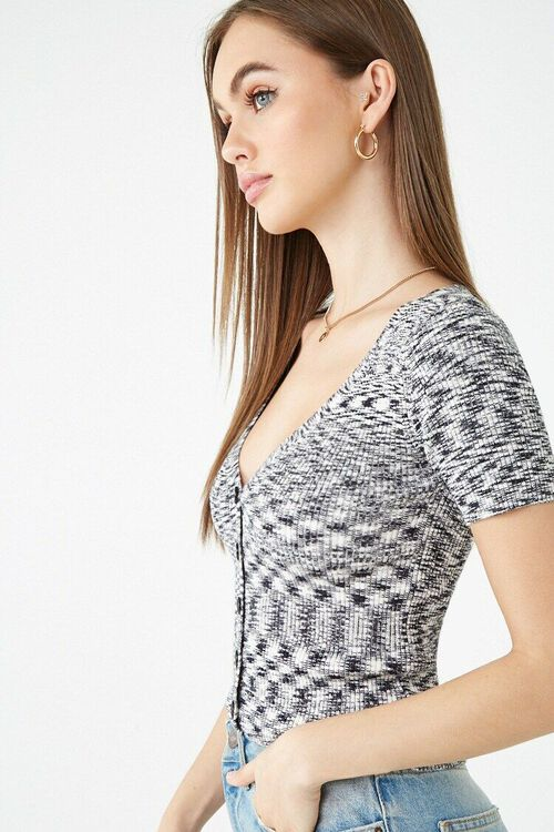 BLACK/WHITE Marled Button-Front Top, image 2