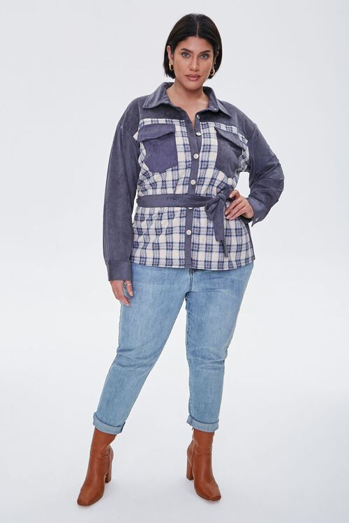 Plus Size Faux Suede & Plaid Jacket, image 4