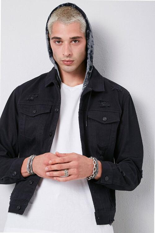 Tie-Dye-Hooded Stonewashed Denim Jacket, image 5